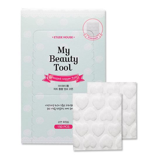 MY BEAUTY TOOL HEART-EMBOSSED COTTON PUFF